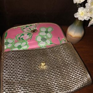LILLY PULITZER Gold Clutch Purse hand Bag Pink
